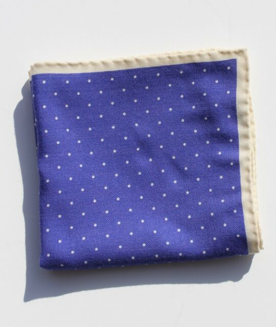 Gentleman's Violet / Purple and White / Ivory Dotted Linen Pocket Square - Italy