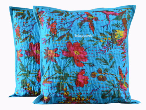 """Lot de 2 Indian Handmade Kantha travail 16X16/"""" Housse de Coussin en Coton Ethnique Art"""