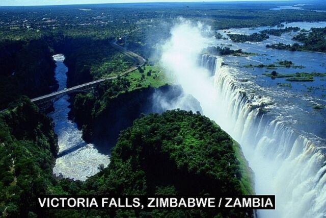 SOUVENIR FRIDGE MAGNET of VICTORIA FALLS ZIMBABWE ZAMBIA