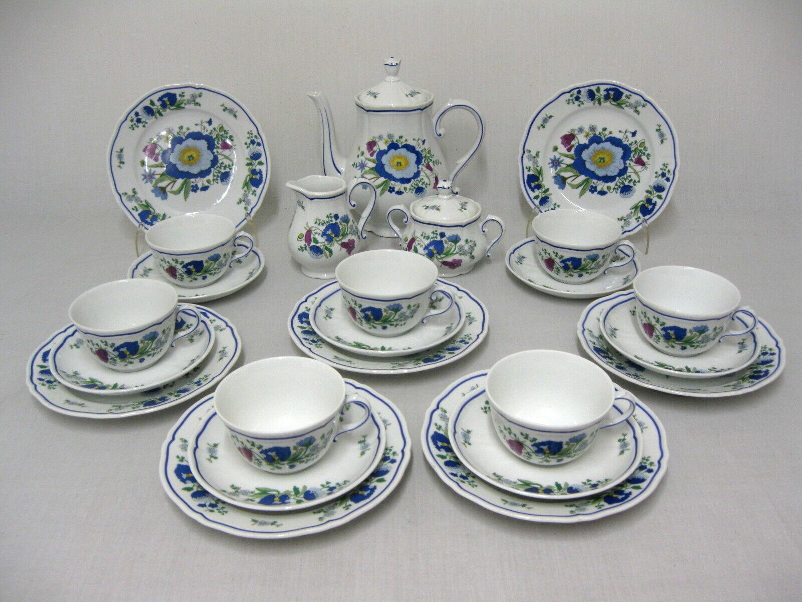 15103, etc. Richard Ginori-Service à café 7 personnes. 24 pces-Fleurs Décor
