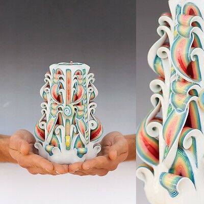 Carved Candles Colorful Candle Christmas gift sculpted Candle Handmade 7 inch