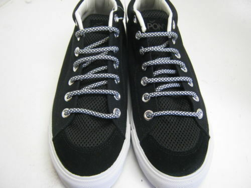 UNISEX PONY LACE-UP CANVAS FLAT CASUAL BLACK TRAINERS// SHOES 121T66