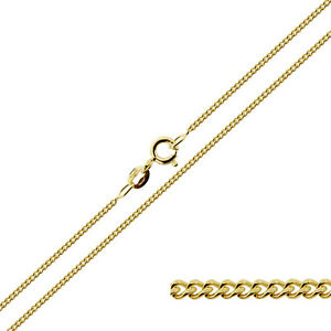 9ct-Gold-Plated-Sterling-Silver-16-18-20-22-24-034-1mm-Curb-Link-Chain-Necklace