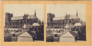 Cattedrale Da Reims Francia Foto Stereo Vintage Albumina c1865