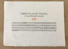 New Letterpress Type 18 Point Perpetua Light Titling Alphabet Only