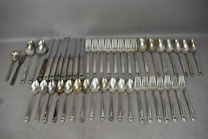 1847-Rogers-Bros-Flatware-Set-46pc-ETERNALLY-YOURS-Pattern-Floral-Silver-Plate