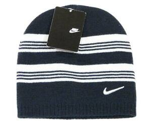 ca667b2bfb3 Nike Swoosh Navy Blue   White Striped Knit Beanie Skull Cap Boy s 8 ...