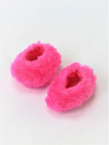 "Hot Pink Fuzzy Slippers Fits 18/"" American Girl Doll Clothes Shoes"