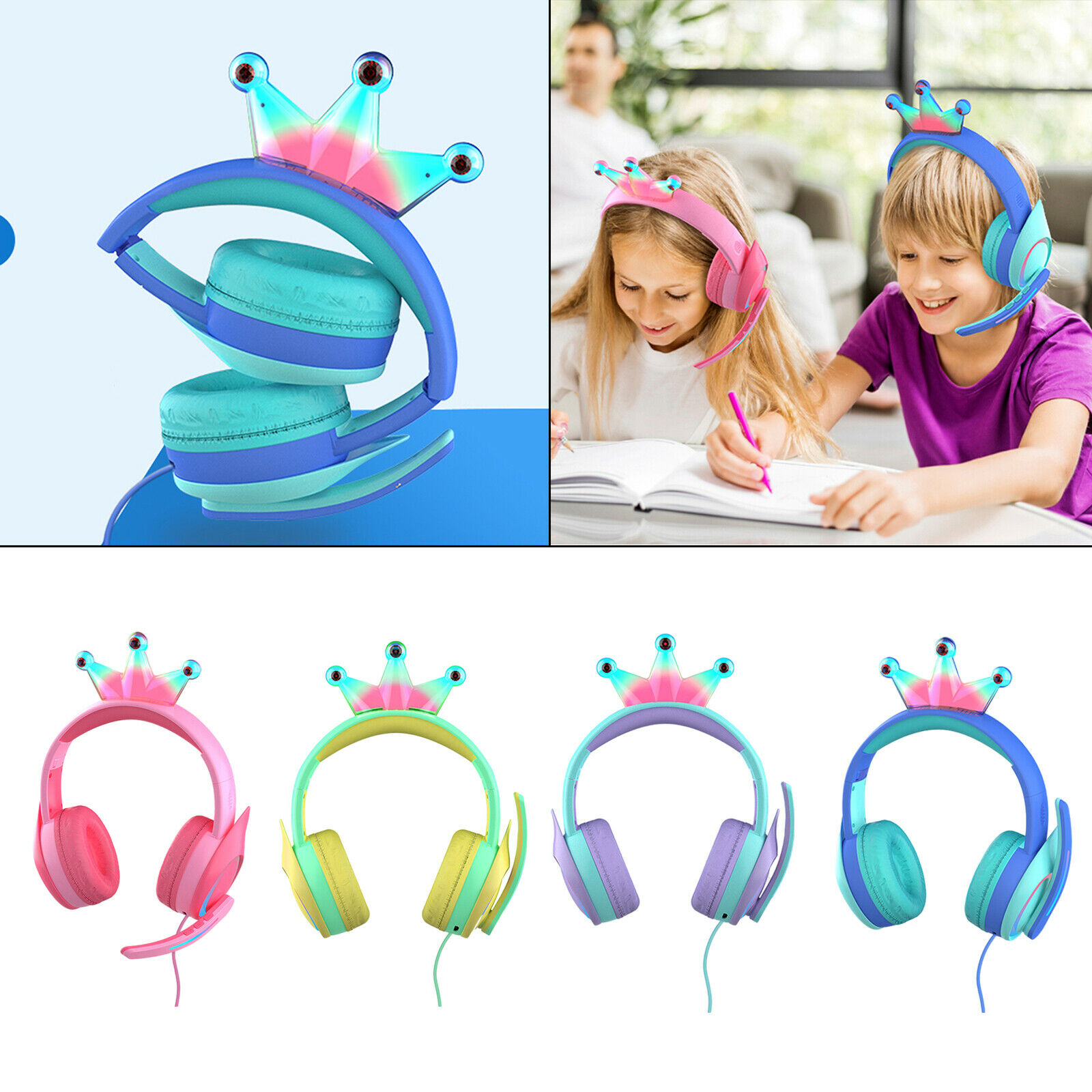 Compact Wired Crown Headset HiFi with Mic for Boys Girls Game PC for PS4