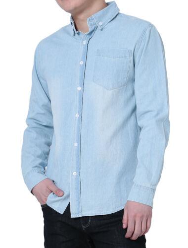 Men Point Collar Round Hem Washed Denim Button Down Long Sleeves Shirt