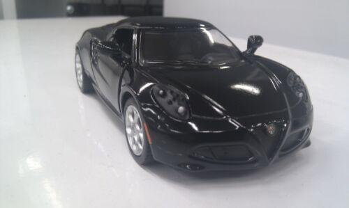 Alfa Romeo 4C Nero Kinsmart Modello Giocattolo 1//32 Scala Modellino Auto Aperto