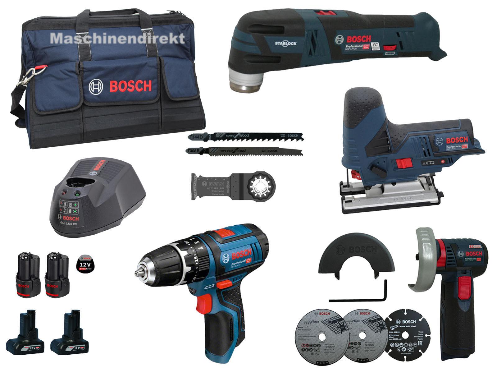 Bosch GSB 12V-15 + GWS 12V-76 + GST 12V-70 + GOP 12V-28 + Akkus in Tasche