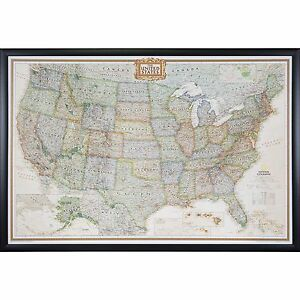 Craig Frames Executive United States Push Pin Travel Map With Pins - United states map picture frame