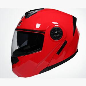 DOT Modular Helmet Flip Up Motorcycle Motocross Helmet Full Face Dual Visor Red