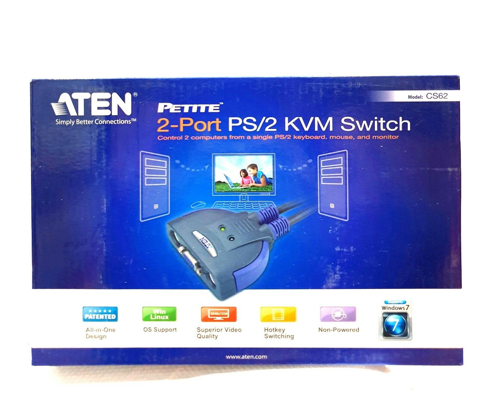 ATEN CS62 2-Port PS/2 KVM Switch - Control 2 computer from single PS/2 Keyboard