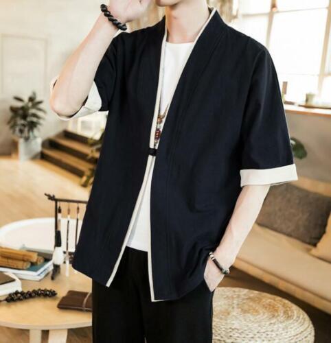 Mens Cotton Linen Kimono Loose Jacket China Style Kongfu Open Stitch Coat Casual