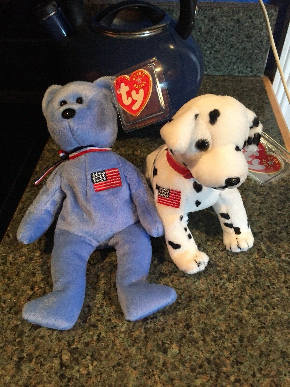 Beanie Babies Firehouse Dog and Sept. 11th America - Rare pair