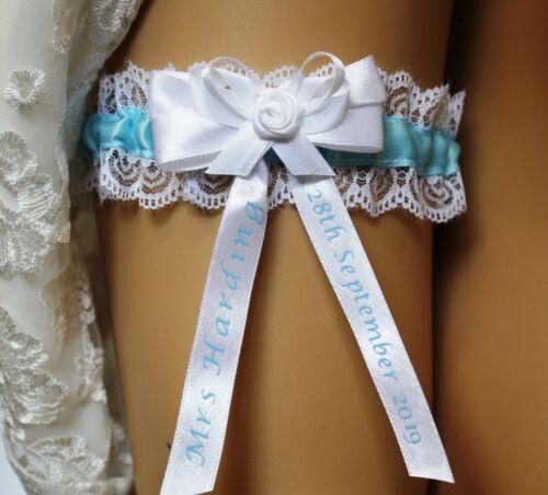 SOMETHING BLUE. BRIDAL GARTER PERSONALISED WEDDING GARTER FULLY HANDMADE