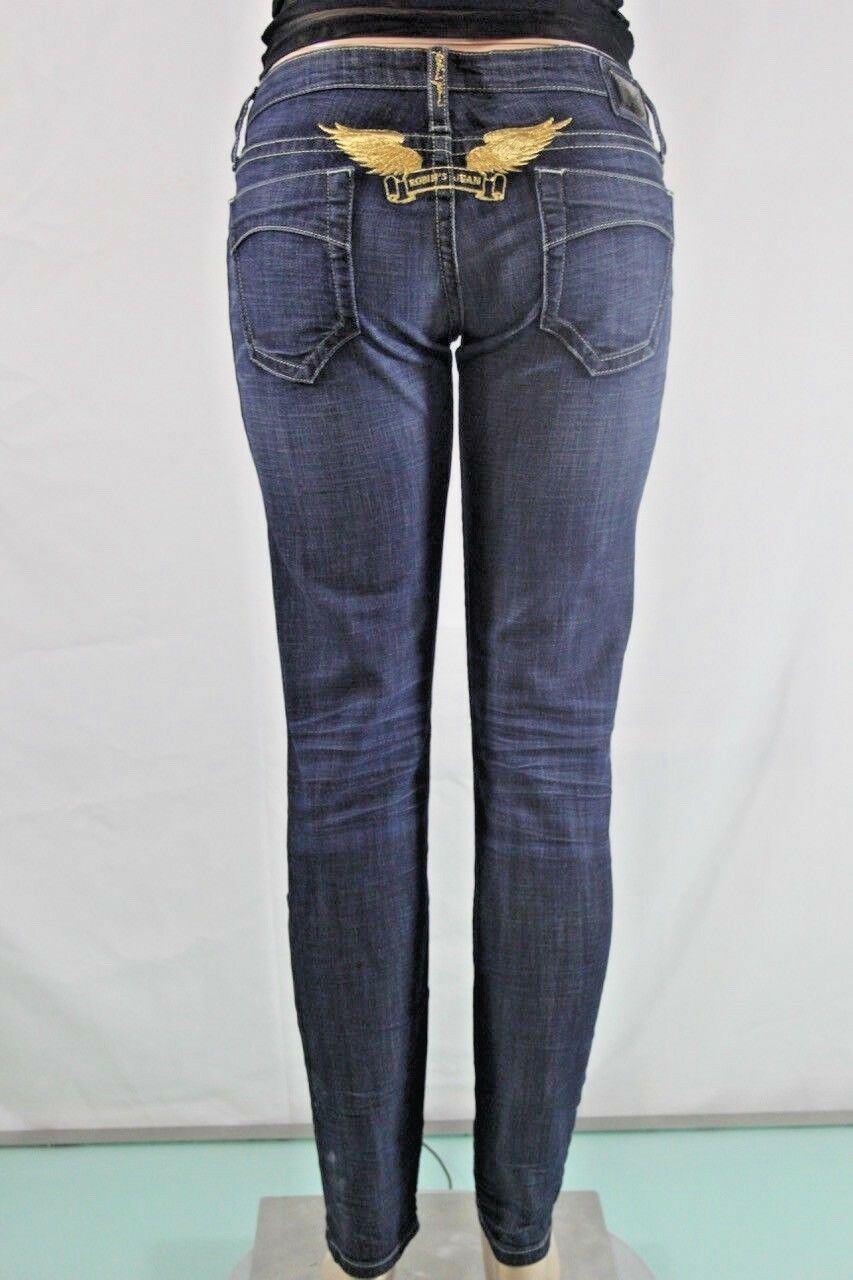 New Women's Robin's Jean Stretch Skinny SZ 30 bluee Embroidered Wings USA