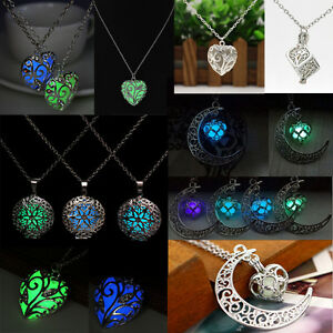 Hot-Glow-In-Dark-Pendant-Necklaces-Steampunk-Luminous-Locket-Chain-Punk-Gifts