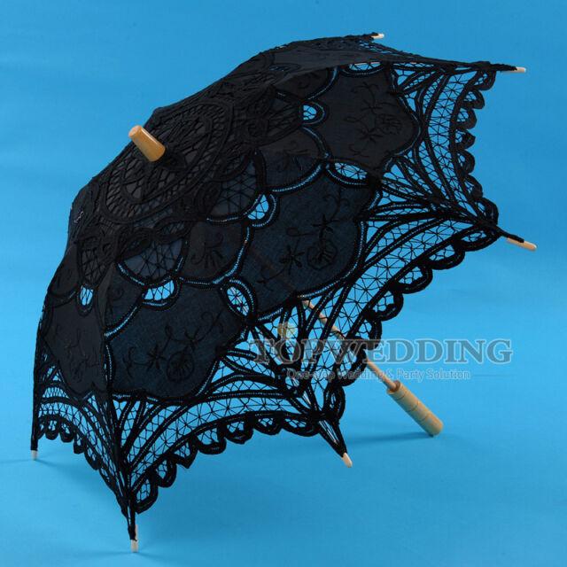"25"" Kids Black Handmade Cotton Lace Umbrella Bridal Wedding Parasol Party Decor"