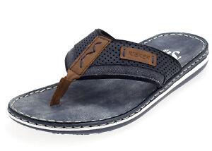 Details zu Rieker Herren Zehentrenner Pantoletten Sandalen Slipper 21086 24 jeans blau
