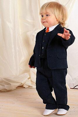 100% Vero Abito Da Battesimo Vestito Cerimonia Cotone Blu Gessato Taglia 62-110 Cod 772