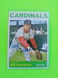 1964-TOPPS-Signed-Autograph-332-Ray-Washburn-Cardinals