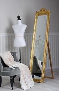 2019 Neuestes Design Standspiegel Ankleidespiegel Barockspiegel Boden Stehend Rechteckig Spiegel Gold