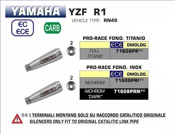 ARROW Muffler Exhaust Prorace Frame Cover Titanium Full Yamaha YZF R1 2017