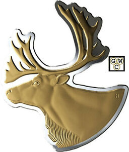 2020-039-Caribou-Real-Shapes-039-Shaped-Gold-Plated-50-Fine-Silver-Coin-100gm-18821