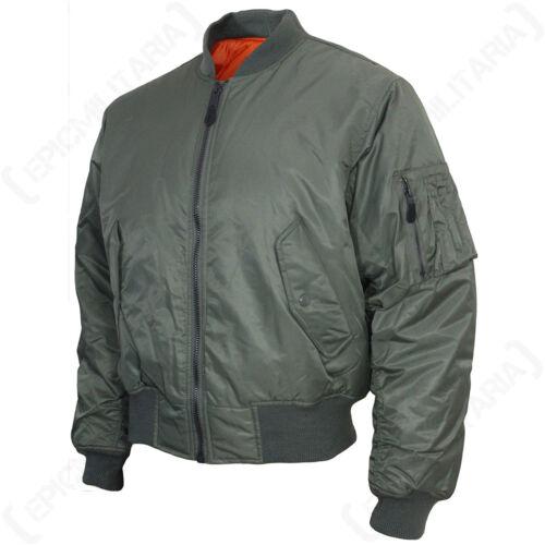 Olive Pilot Coat Outerwear Mens American USAF Teesar US MA1 Flight Jacket