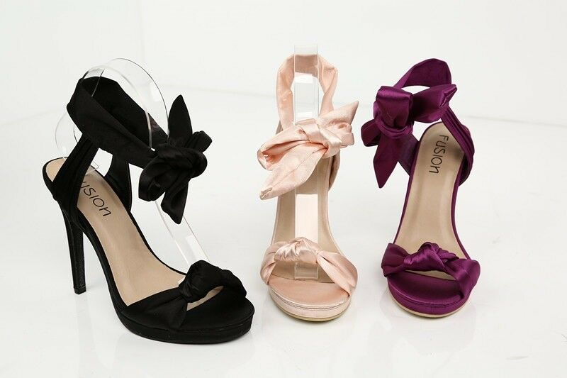 LADIES PLATFORM SATIN TIE BOW PLATFORM LADIES WEDDING SANDAL HEELS PS1 ab00c5