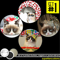 Grumpy Cat Set Of 4 Buttons Or Magnets Or Mirrors Pins Badges Tardar Sauce 1335