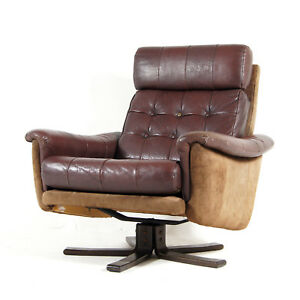 Retro-Vintage-Danish-Rosewood-amp-Leather-Swivel-Base-Lounge-Chair-Armchair-70s
