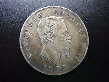 1877 Italy 5 Lira Silver Coin