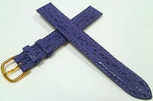 15-mm-Bleu-Violet-Bracelet-Montre-Haifisch-Estampage-de-Cuir-1588