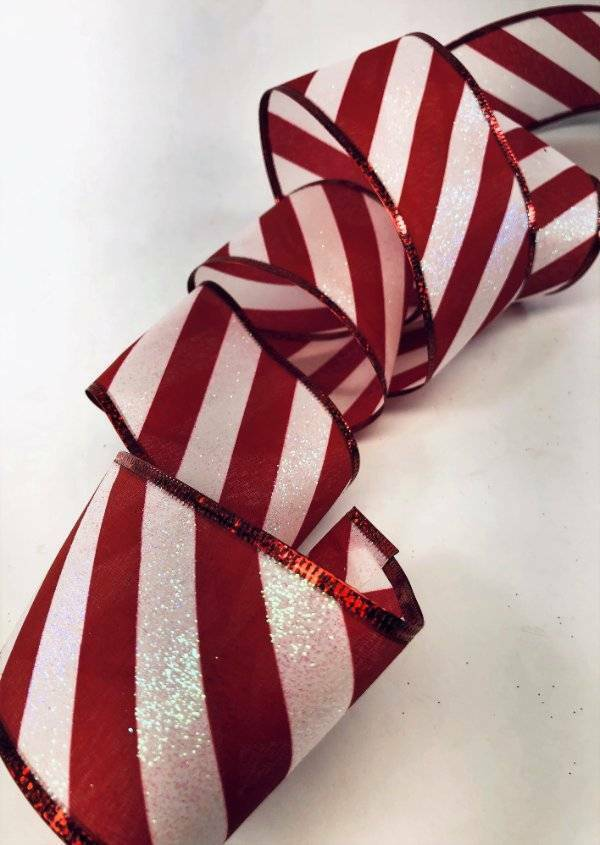 2-1//2-Inch 10 Yards Red Satin Wired Edge Ribbon with Candy Cane Trim