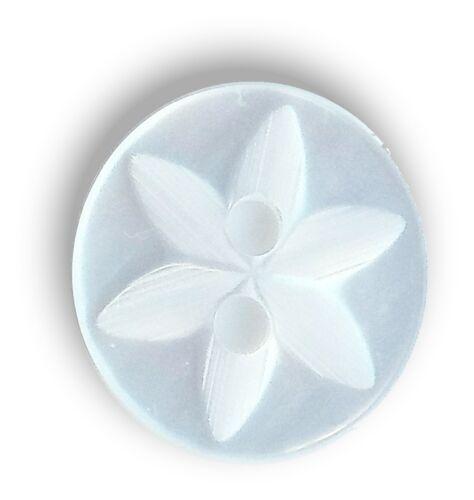 14 Mm Nuevo Pack de 100 14 mm Blanco Estrellas Bebé Botones Poliéster Talla 22