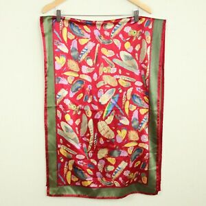Vintage-Carlisle-Silk-Scarf-Rectangle-21-034-x-59-034-Feather-Print-Red-Green-90s