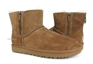 8902f1f911f Details about UGG Classic Mini Double Zip Chestnut Suede Fur Boots Womens  Size 10 *NIB*