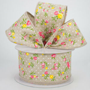 2-5-034-Vintage-Floral-Swiss-Dots-Wired-Ribbon-Beige-Pink-Yellow-Green-5-Yards