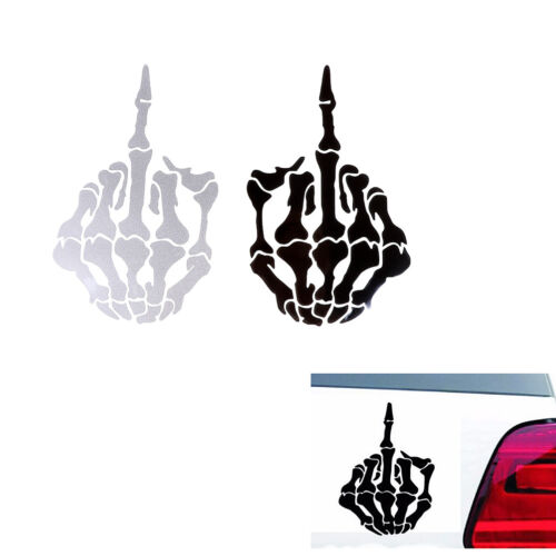 1PC car sticker skull middle finger design DIY reflective auto decal stickers 0B