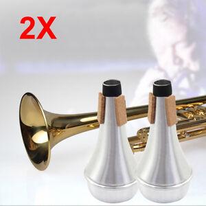 2PCS-Trumpet-Cornet-Aluminum-Practice-Compact-Straight-Adjustable-Mute-Silencer