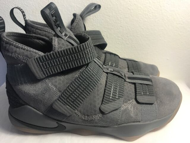 db6e39af66f0 Nike Lebron Soldier XI Dark Grey Gum Basketball Shoes 897646-003 Men s Size  8.5