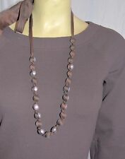 Necklace Brown silk Ribbon White Faux Pearl Long Strand Statement