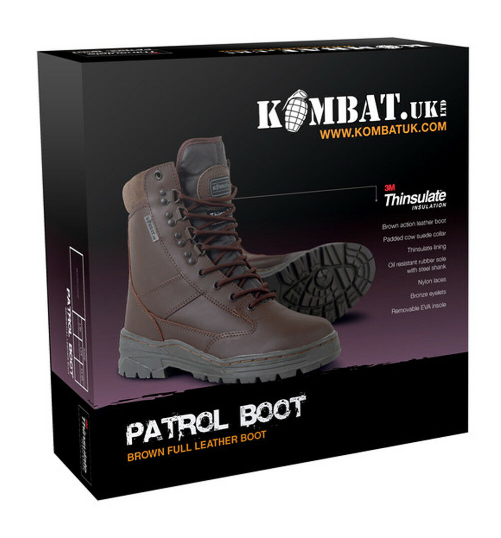 Combat Military Full All Leather Army Combat Combat Combat Patrol Stiefel braun Tactical Cadet b0b7bd