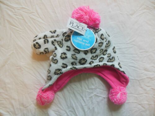 NWT The Children/'s Place BEANIE HAT /& Mittens Toddler Girls Leopard 6-12 2T-3T