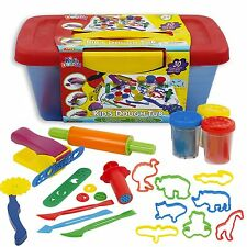 34 Pcs Kids Pay Dough with Blue & Red Tub Shapes Craft Gift Childrens Toys Xmas