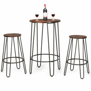 Remarkable Details About 3 Piece Bistro Pub Set Round Table Counter Height Stools Wood Metal Furniture Ibusinesslaw Wood Chair Design Ideas Ibusinesslaworg